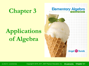Chapter 3 Applications of Algebra Chapter 3-1