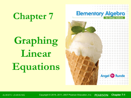 Graphing Linear Equations Chapter 7