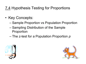 7.4 Hypothesis Testing for Proportions • Key Concepts: