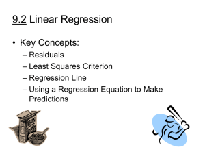 9.2 Linear Regression • Key Concepts: