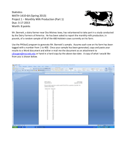 Statistics MATH-1410-6A (Spring 2013)  Project 1 – Monthly Milk Production (Part 1)