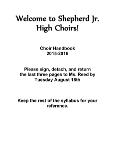 Welcome to Shepherd Jr. High Choirs!