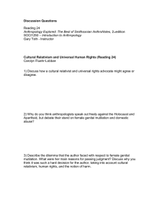 Discussion Questions  Cultural Relativism and Universal Human Rights (Reading 24) Reading 24