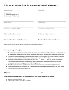 Subcontract Request Form for Northeastern Issued Subcontracts