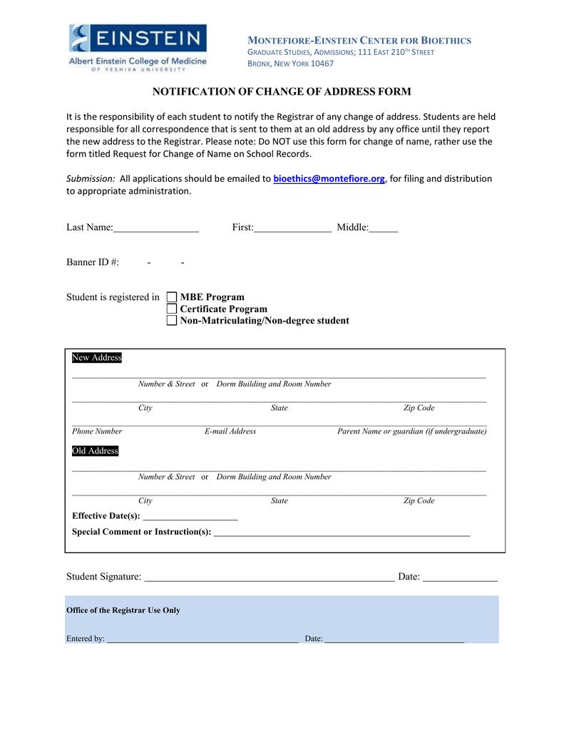notification of change address