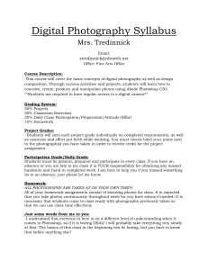 Digital Photography Syllabus Mrs. Tredinnick