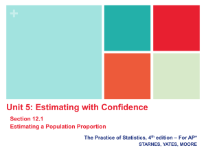 + Unit 5: Estimating with Confidence Section 12.1 Estimating a Population Proportion