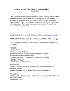 Syllabus for MATH4545: Fourier Series and PDEs  Spring 2016
