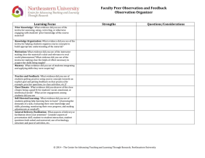 Faculty Peer Observation and Feedback Observation Organizer  Learning Focus