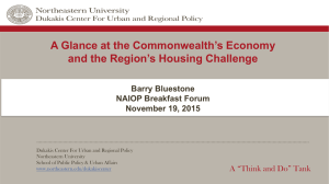 A Glance at the Commonwealth's Economy and the Region's Housing Challenge