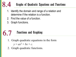 8.4 Graphs of Quadratic Equations and Functions