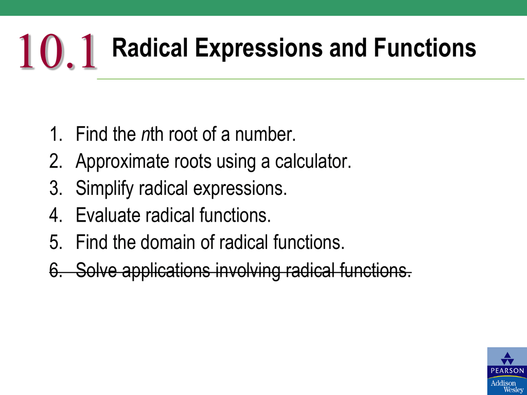 10 1 Radical Expressions and Functions