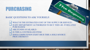 PURCHASING  BASIC QUESTIONS TO ASK YOURSELF: