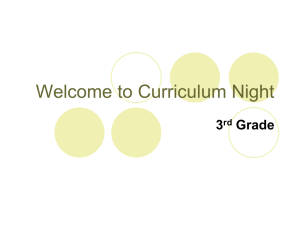 Welcome to Curriculum Night 3 Grade rd