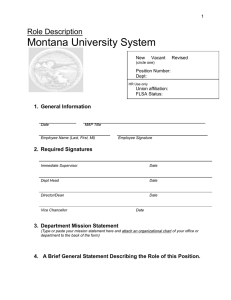Montana University System Role Description 1.  General Information