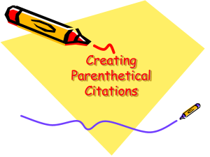 Creating Parenthetical Citations