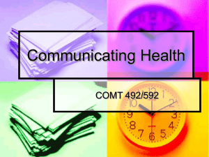 Communicating Health COMT 492/592