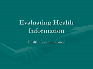 Evaluating Health Information Health Communication