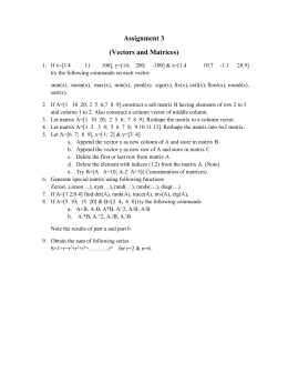 Assignment 3 (Vectors and Matrices)