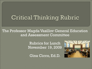 The Professor Magda Vasillov General Education and Assessment Committee Rubrics for Lunch