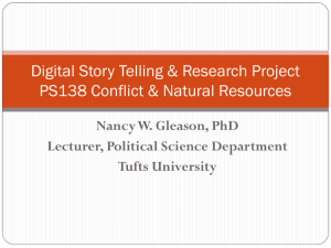 Digital Story Telling & Research Project PS138 Conflict & Natural Resources