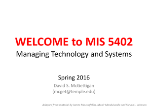 WELCOME to MIS 5402 Managing Technology and Systems Spring 2016 David S. McGettigan