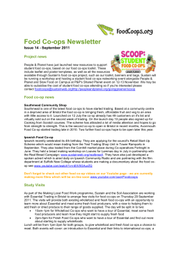 Food Co-ops Newsletter Issue 14 - September 2011 Project news