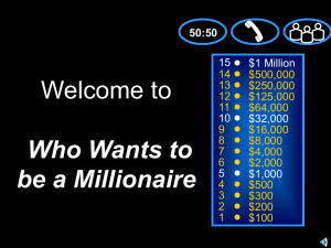 Welcome to Who Wants to be a Millionaire 15