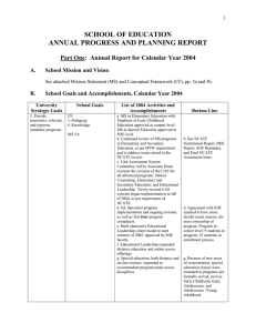 SCHOOL OF EDUCATION ANNUAL PROGRESS AND PLANNING REPORT