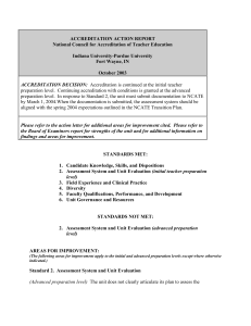 ACCREDITATION ACTION REPORT National Council for Accreditation of Teacher Education