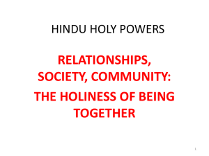 RELATIONSHIPS, SOCIETY, COMMUNITY: THE HOLINESS OF BEING TOGETHER