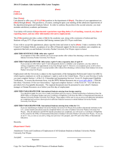 2014-15 Graduate Aide/Assistant Offer Letter Template ( ) ) (