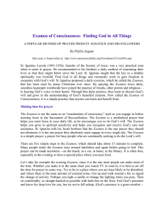 Examen of Consciousness:  Finding God in All Things