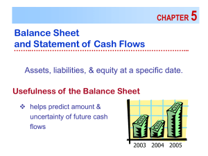 5 Balance Sheet and Statement of Cash Flows CHAPTER