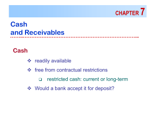7 Cash and Receivables CHAPTER