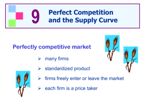9 Perfect Competition and the Supply Curve Perfectly competitive market