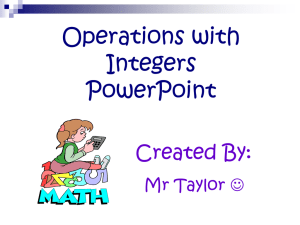 Operations with Integers PowerPoint Created By: