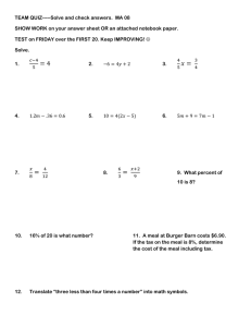TEAM QUIZ-----Solve and check answers.  MA 08