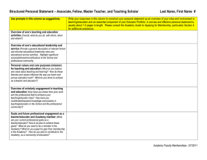 Structured Personal Statement – Associate, Fellow, Master Teacher, and Teaching...  Last Name, First Name  #