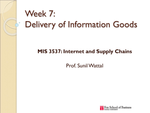 Week 7: Delivery of Information Goods MIS 3537: Internet and Supply Chains