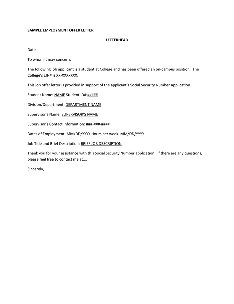 Sample Employment Offer Letter Letterhead Date To Whom It May Concern