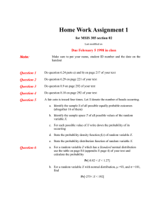 Home Work Assignment 1 for MSIS 385 section 02 Note: