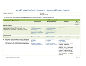 Annual Program Plan/Review Assessment—Instructional Planning Committee  Program Name: Art Division: