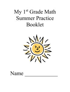 My 1 Grade Math Summer Practice Booklet