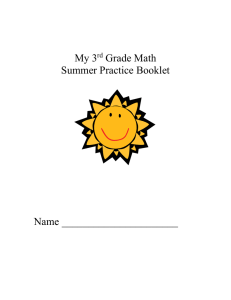 My 3 Grade Math Summer Practice Booklet