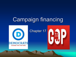 Campaign financing Chapter 17