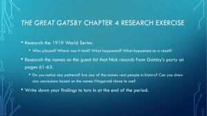 THE GREAT GATSBY •