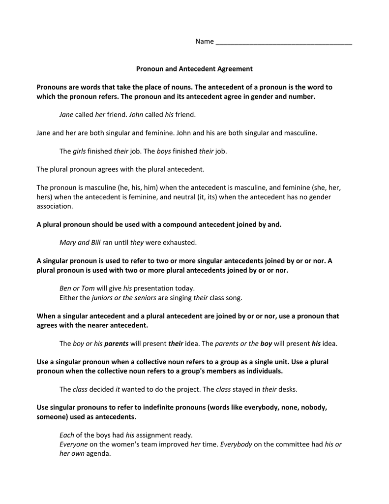 Name Pronoun and Antecedent Agreement Inside Pronoun Antecedent Agreement Worksheet