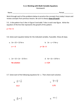5.1.1 Working with Multi-Variable Equations Homework