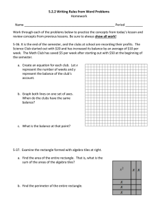 5.2.2 Writing Rules from Word Problems Homework